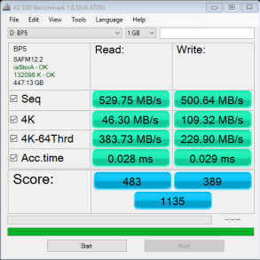 MyDigitalSSD BP5e 480GB M2 SATA 3 SSD AS SSD Benchmark