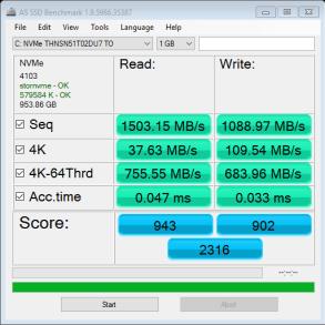9350 1TB AS SSD Bench Fresh System