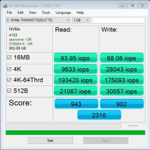 9350 1TB AS SSD IOPS Fresh System
