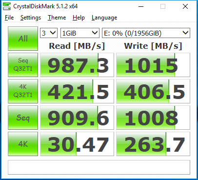 1TB Crucial MX300 RAID 0 cdm