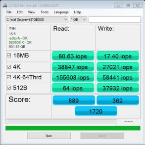 Intel Optane 32GB AS SSD IOPS