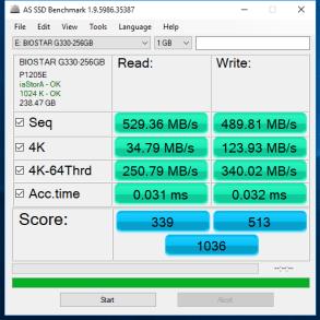 Biostar G330 SSD 256GB AS SSD