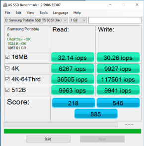 Samsung Portable SSD T5 2TB AS SSD IOPS