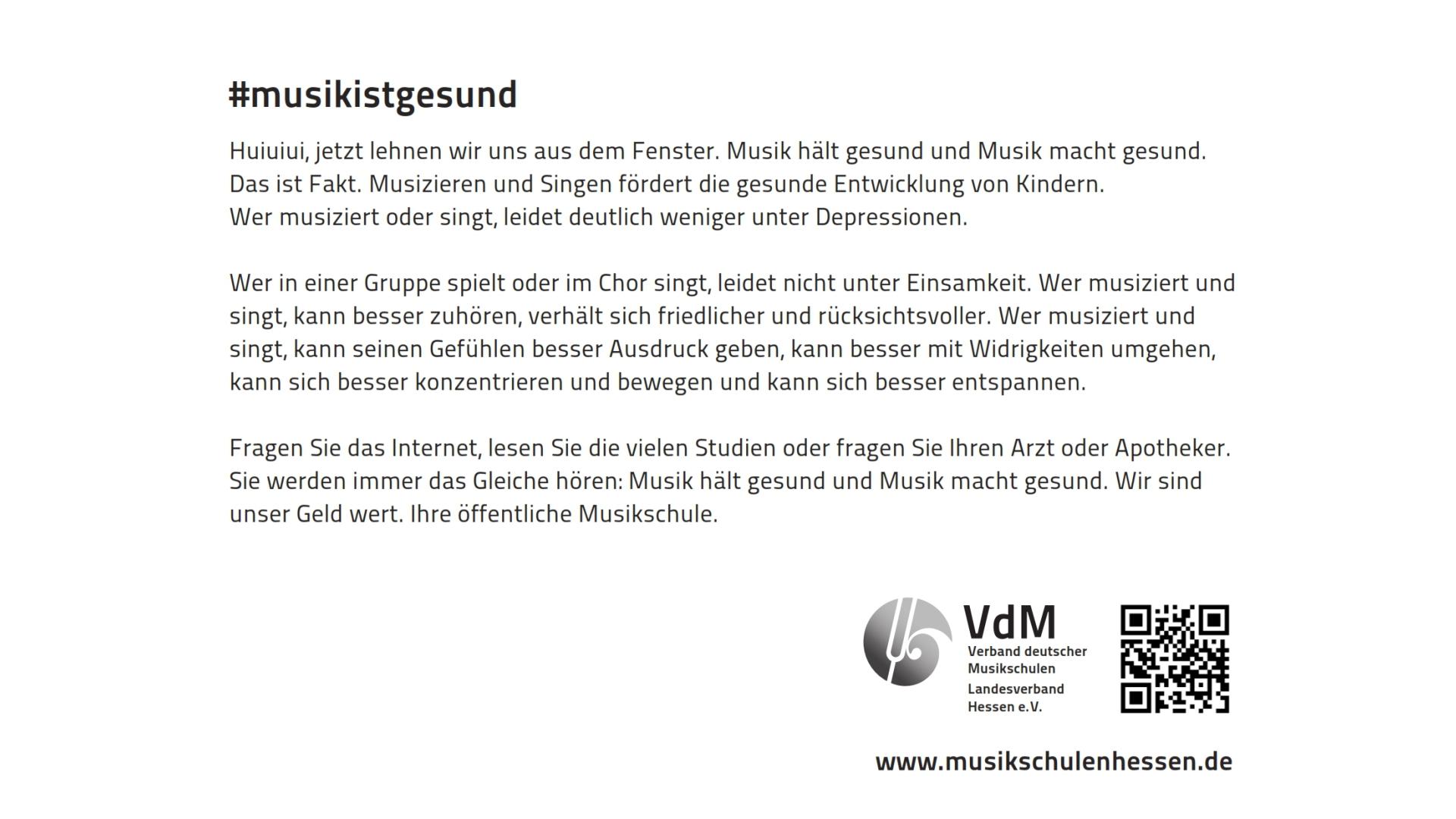 #musikistgesund | Öffentlichkeitsarbeit für die Musikschulen im VdM Hessen