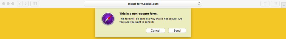 Apple Insecure Form warning