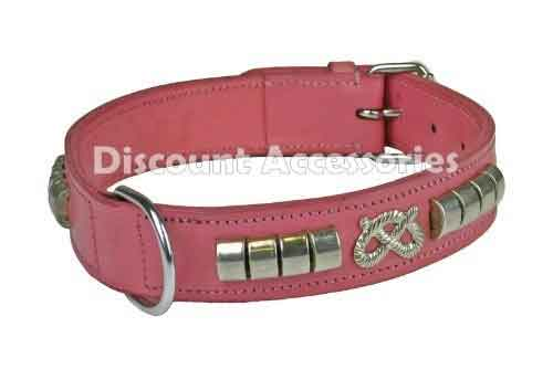 Staffordshire Bull Terrier Pink Leather Collar