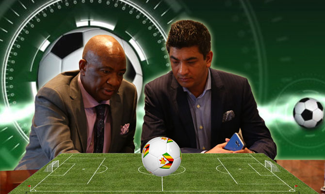 Zifa president Phillip Chiyangwa (left) and TSM chief executive officer Moinul Chowdury
