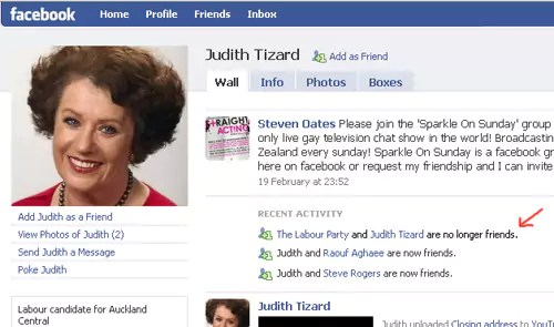Judith Tizard and The Labour Party are no longer friends