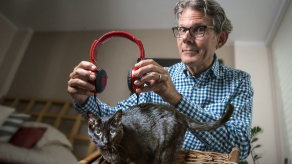 A composite photo of David Teie, who is composing music that he believes cats will actually enjoy.