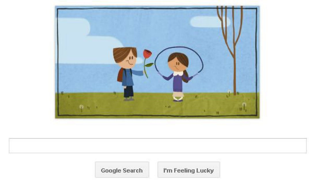 Valentines Day 2012 Google Doodle Celebrates Young Love