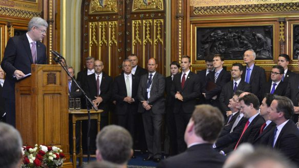 Prime Minister Stephen Harper address both Houses of Parliament in the Queen's Robing Room in the Palace of Westminster in London. (June 13, 2013)