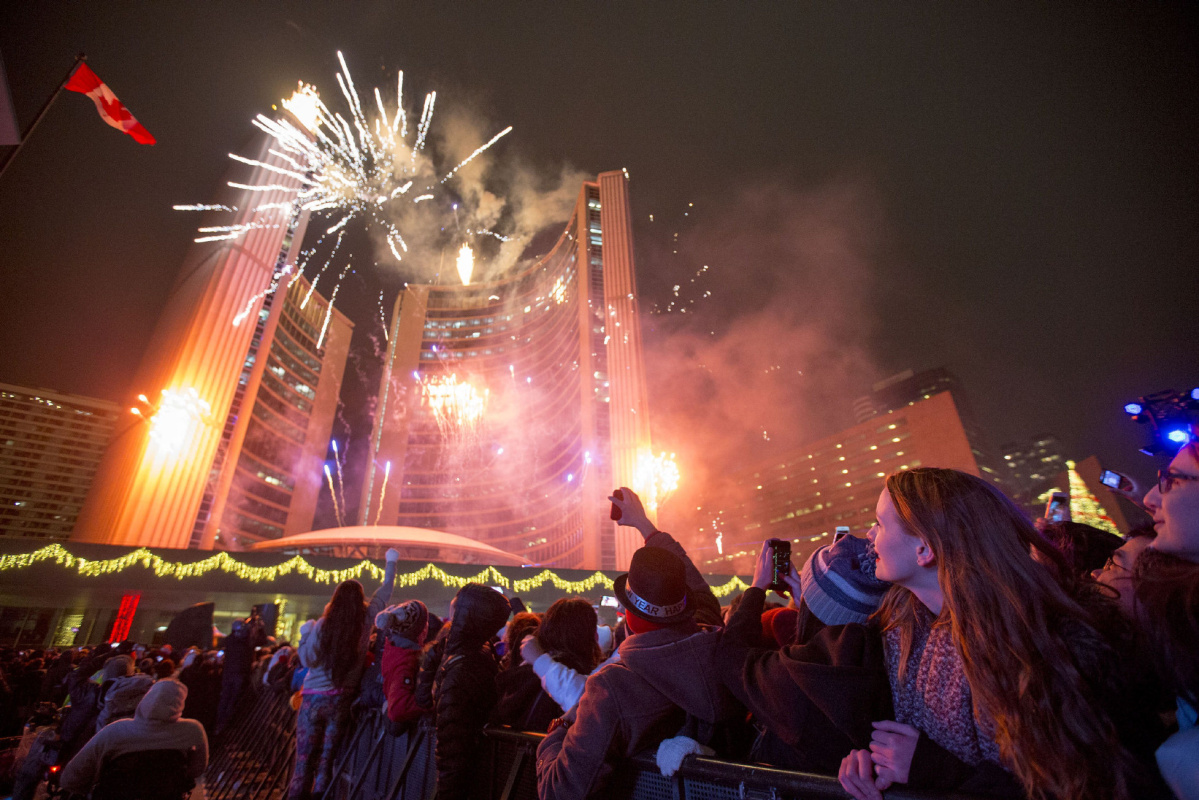 Happy New Year  Toronto  Thousands greet 2016 at Nathan Phillips     Happy New Year  Toronto  Thousands greet 2016 at Nathan Phillips Square    The Star