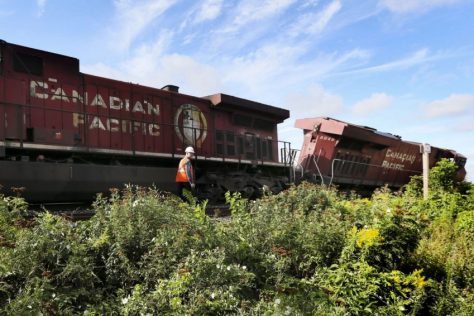 A CN train derailed near Bridgeman and Howland Aves., East of Bathurst and Dupont Sts.