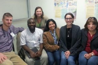 Dr. Christopher Keefer, from left, Eustace Orleans-Lindsay, pharmacist at the Simcoe Superstore; McMaster University health anthropology graduate student Stephanie Mayell; Isabel Chilean and Lorena Acuna, both translators; and the clinic's primary care assistant Tricia Gutierrez.