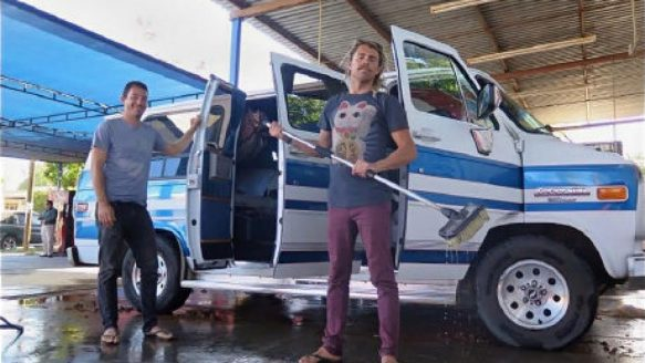 Dean Lucas (left) and Adam Coleman with their van. Coleman and Dean Lucas were travelling from Edmonton to Mexico and failed to arrive as planned on Nov. 21 in the city of Guadalajara.
