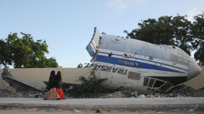 For years, the carcass of a Russian aircraft shot down in 2007 marred the runway of Mogadishu's airport. It finally got moved to a side street, where it was stripped for parts.