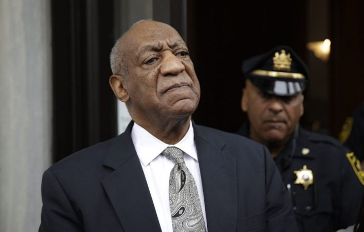 Bill Cosby exits the Montgomery County Courthouse after a mistrial was declared in his sexual assault trial in Norristown, Pa., Saturday. The mistrial, which Cosby's lawyers had supported, means that prosecutors will need to decide whether to retry Cosby on the charges at a later date.