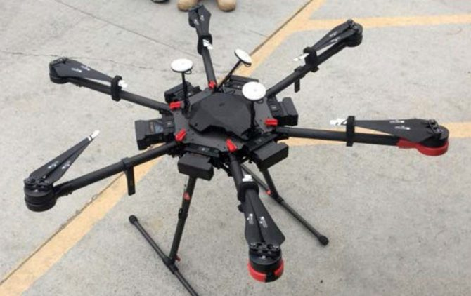 A 2-foot-high drone that a border patrol agent spotted swooping over the border fence on Tuesday, Aug. 8, 2017, near a San Diego border crossing. Authorities have arrested a man they say used the drone to fly drugs across the Mexican border into California.