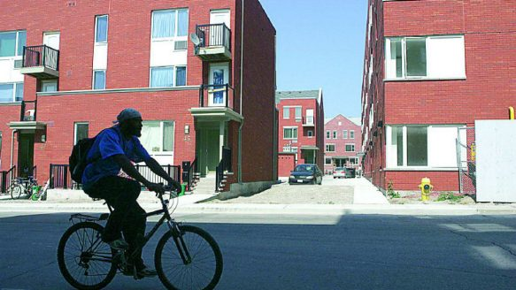 Donmount Court is a new affordable housing subdivision off of Carroll Street in east Toronto.