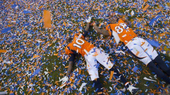"""Broncos receiver Emmanuel Sanders, left, is focused on Super Bowl 50, and not the possible effects of concussions. """"If I'm going to die, at least I'm going to die doing stuff that I love to do,"""" he says. """"And this is what I love to do."""""""