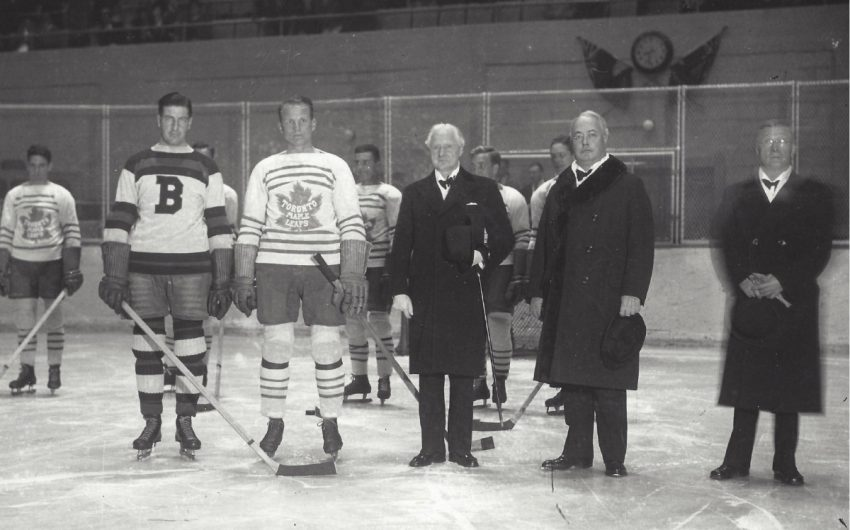 At a Toronto Maple Leafs game, players stand with Lieut-Gov. Herbert A. Bruce, J.P. Bickell, second from right, and Frank Calder, the president of the NHL.  How J.P. Bickell helped shape Toronto, from Famous Players to the Maple Leafs  34 1938 tml home opener