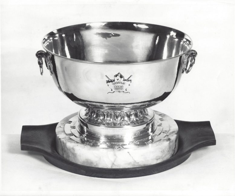 The J.P. Bickell Memorial Award from the 1960s. The award was created in Bickell's honour to recognize Maple Leafs players for outstanding service to the organization.  How J.P. Bickell helped shape Toronto, from Famous Players to the Maple Leafs  39 1960s jpb cup