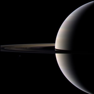 Saturn and moon Tethys