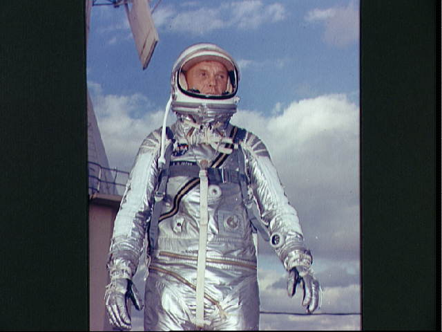 Astronaut John Glenn Jr. in his Mercury spacesuit