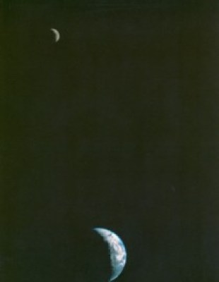 First image of the Earth and the Moon in the same frame.
