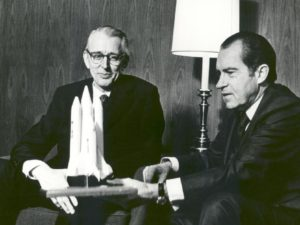 President Richard M. Nixon and Dr. James C. Fletcher, NASA Administrator, discussing the proposed Space Shuttle.