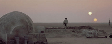 Scene from Star Wars Episode IV: A New Hope, showing binary stars from Tatooine.
