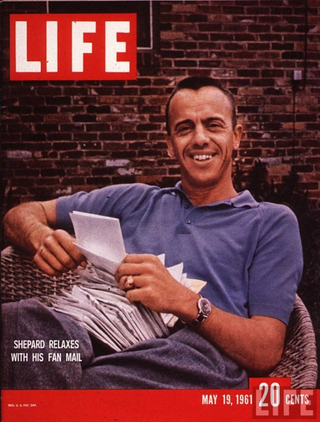 Alan Shepard reads fan mail, from the cover of the May 19, 1961 issue of Life magazine.