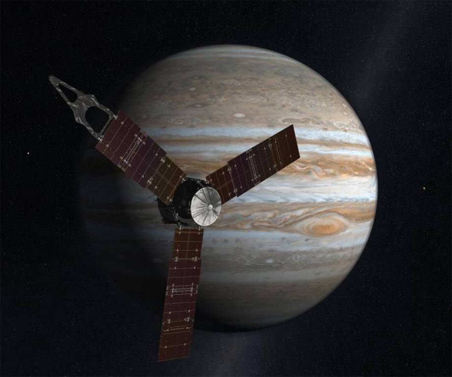 Artist's concept art of Juno at Jupiter