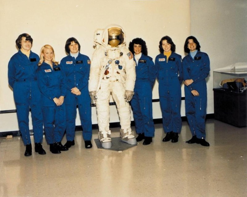From left to right are Shannon W. Lucid, Margaret Rhea Seddon, Kathryn D. Sullivan, Judith A. Resnik, Anna L. Fisher, and Sally K. Ride. NASA selected all six women as their first female astronaut candidates in January 1978, allowing them to enroll in a training program that they completed in August 1979.