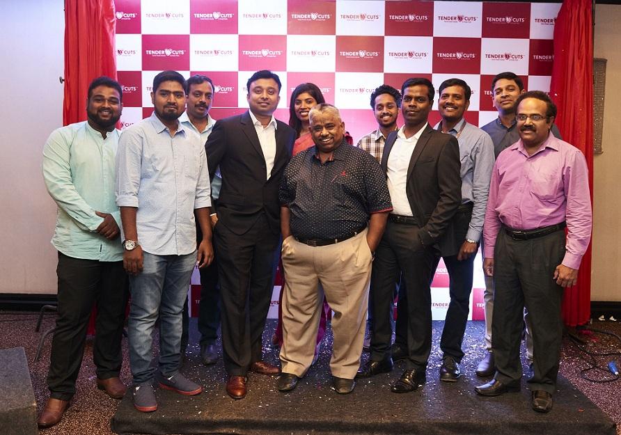 Team TenderCuts- Mr. Nishanth Chandran, CEO, TenderCuts (3rd from the Left) & Chef Damu (Centre), Brand Ambassador, TenderCuts along with the team
