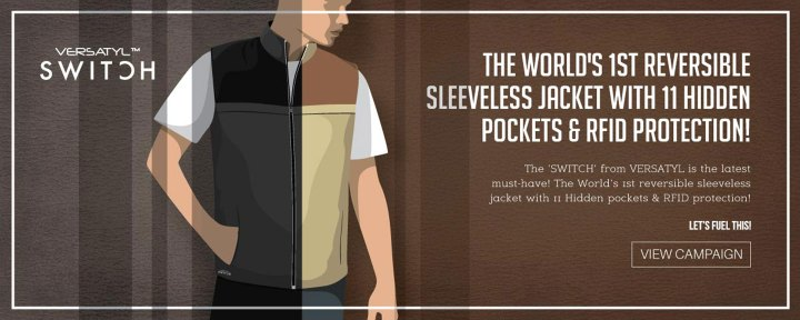 Versatyl Switch - World's first reversible sleeveless jacket with built in RFID protection