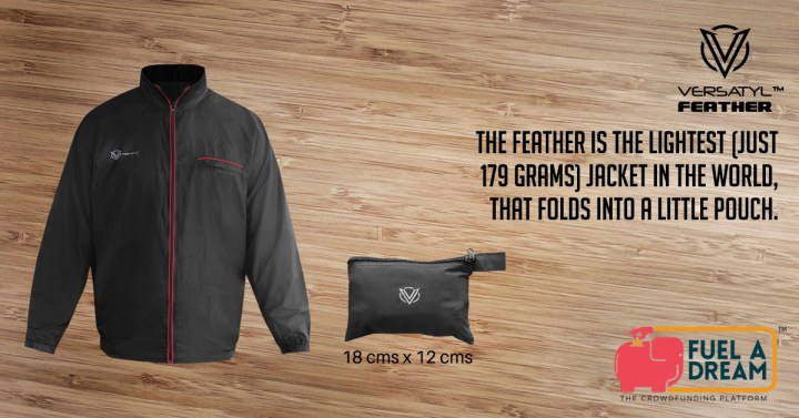 Versatyl Feather - World's lightest jacket weighing only 179 grams is also water-resistant