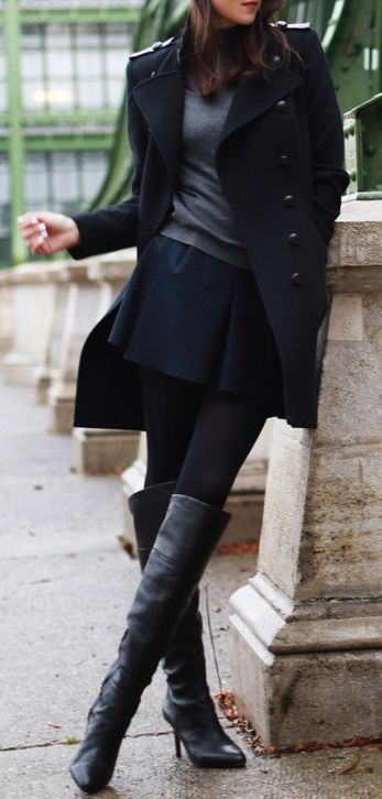 Love this pea coat paired with a short skirt and tall boots- so CHIC, So street, So fall!