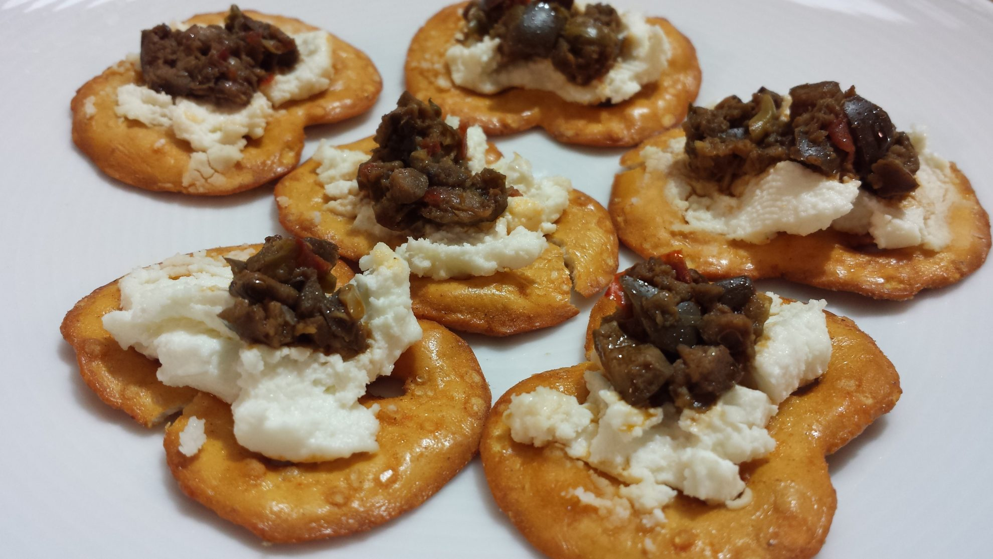 Rold Gold Three Cheese Pretzel Thins with Goat Chees e and Olive Tapenade #Recipe