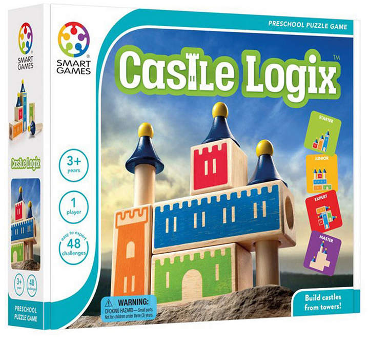 Construct castles, block by block and tower by tower, as you flex your logic muscles with this beautifully crafted 3-d wooden puzzle. The challenge is to assemble the wooden blocks and towers to build one of the castles in the included puzzle booklet.
