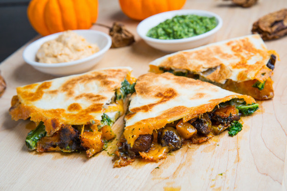 Roasted Pumpkin, Mushroom and Kale Quesadillas with Chipotle Pumpkin Crema and Kale Pesto