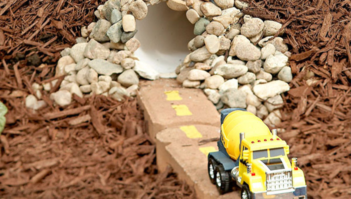 Build a cool tunnel for your kids' toy cars out of PVC pipe.
