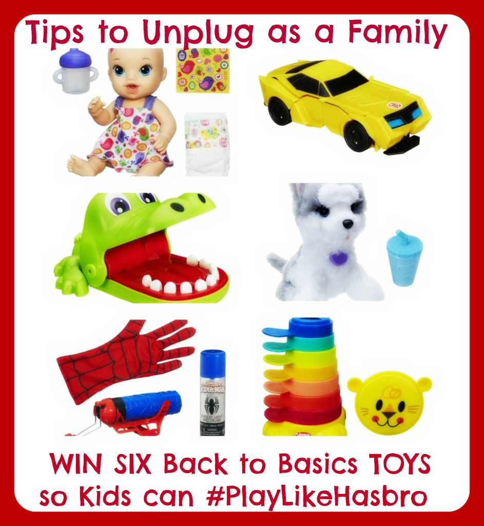 Tips to Unplug as a Family and WIN SIX Back to Basics TOYS so Kids can #PlayLikeHasbro