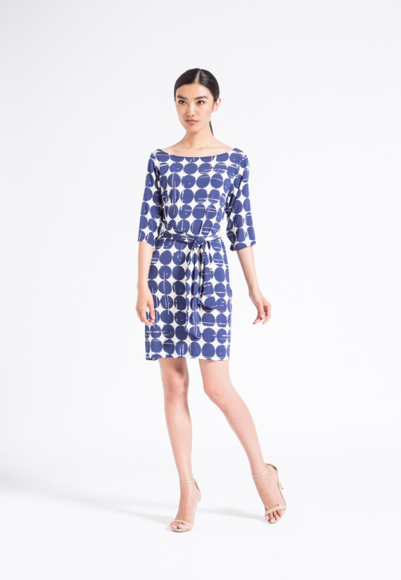 this dress. It's as chic with Keds as it is with stilettos. Dress it up and down - the Nouveau Sheath offers mix and match style to keep up with your busy lifestyle. The neckline is reversible, so the possibilities are endless!
