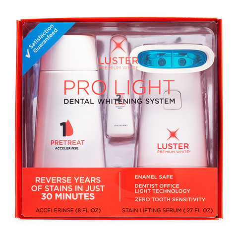 Here are just a few of the NEW Luster Pro Light Dental Whitening System ($43.99)  key features:    • whitening teeth 2x faster than strips and trays • Developed by dentists • Uses dentist office light technology • Visibly whitens teeth in as little as 30 minutes • Proven to be enamel safe Does not cause tooth sensitivity • Best for—Reversing years of yellowing teeth, getting ready for a big event, or jumpstarting your whitening regimen
