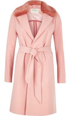 Love this River Island Womens Pink faux fur collar robe coat