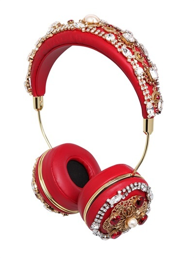 Frends Embellished Headphones Crystals, Pearls and Candy apple red goodness oh and they play music too.