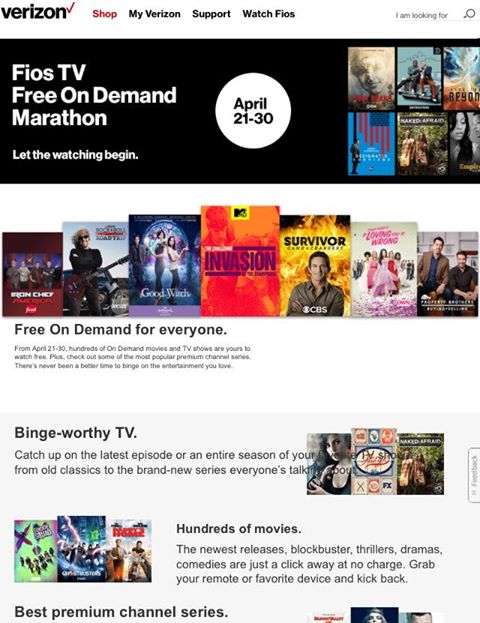 Woo hoo! Enjoy a Free On Demand Marathon. Watch current and classic TV series, blockbuster movies, select premium entertainment and more at no cost from 4.21 through 4.30 on Verizon #FiosNY https://www.verizon.com/home/MLP/ondemand.html