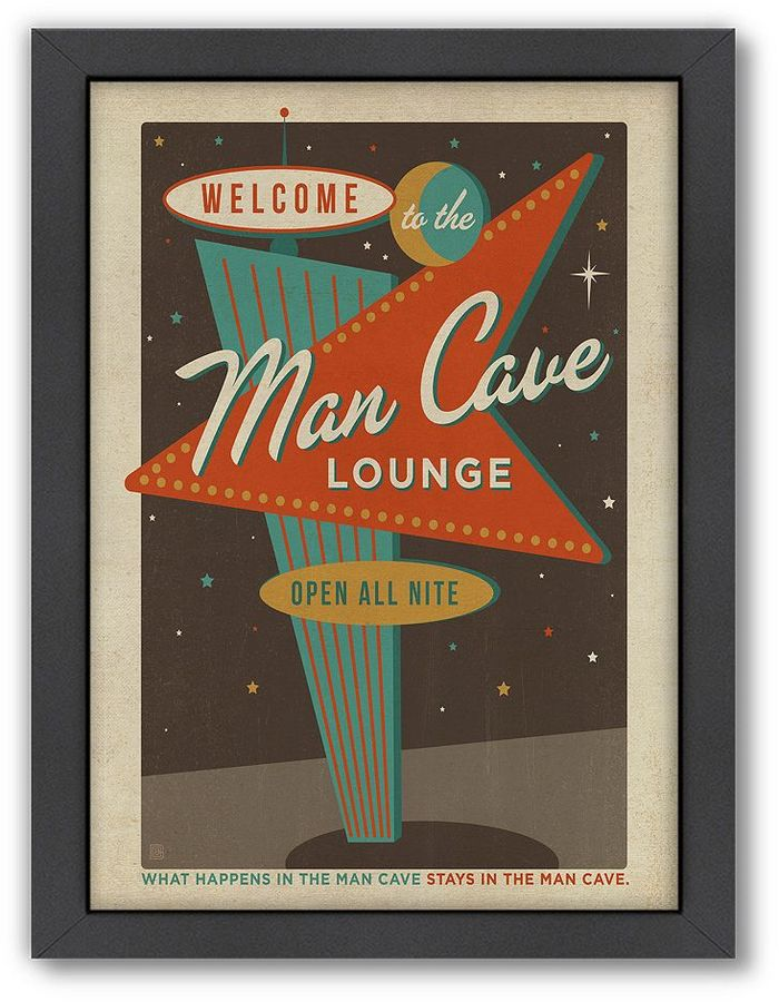Bet on superb style with this ''Man Cave'' framed wall art