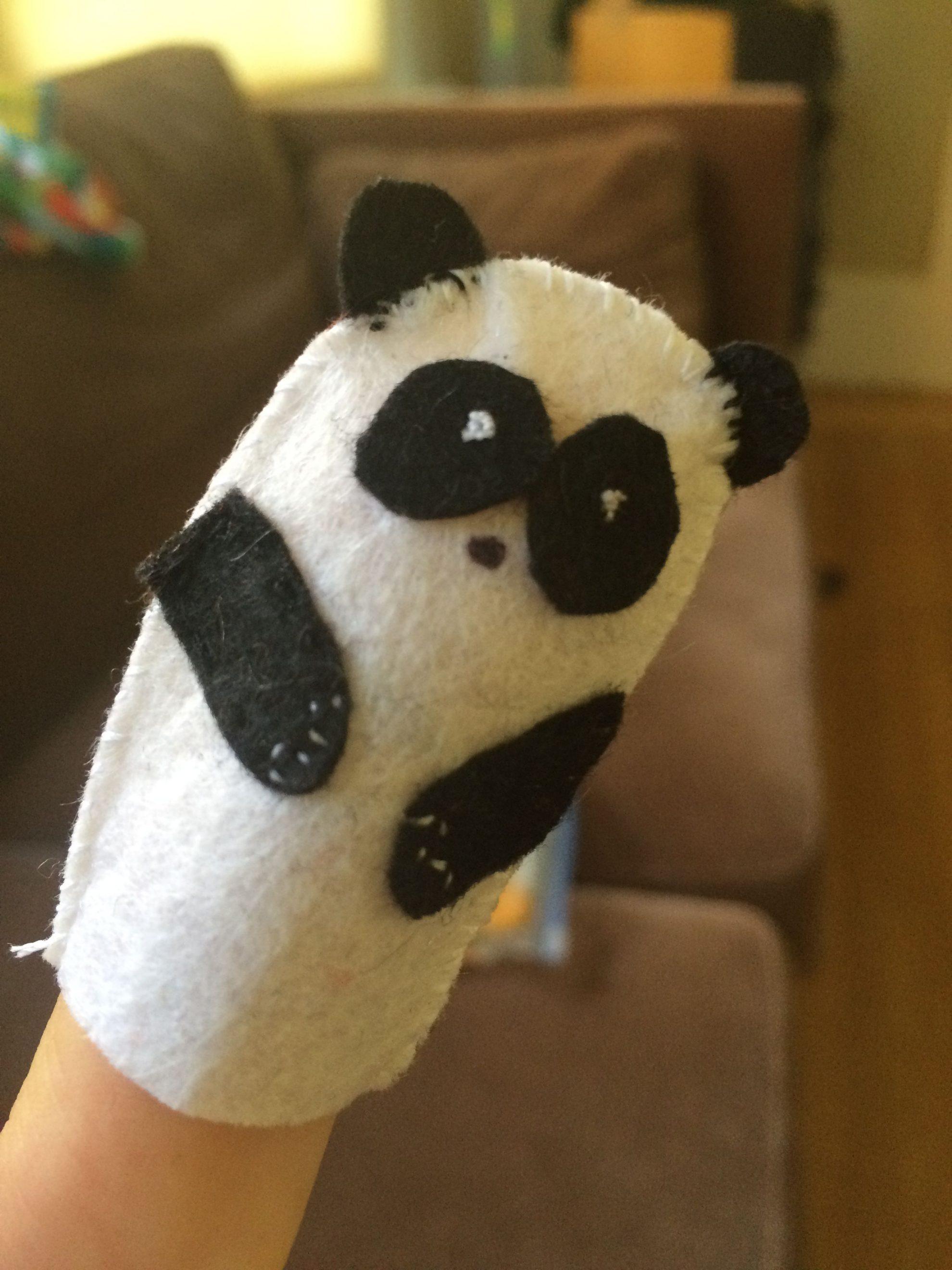 Felt Crafts for Kids Panda Finger Puppets